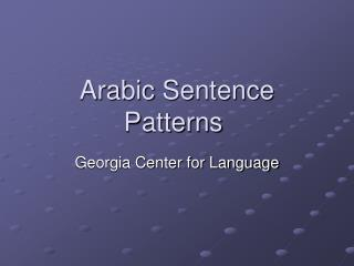 Arabic Sentence Patterns