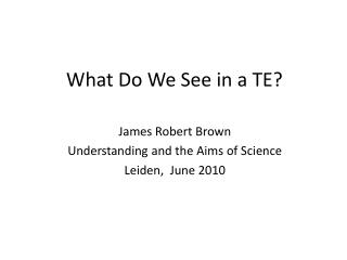What Do We See in a TE?