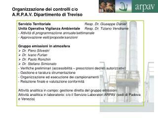 Servizio Territoriale     Resp. Dr. Giuseppe Daniel