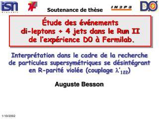 É tude des  é v é nements  di-leptons + 4 jets dans le Run II  de l'exp é rience D0  à  Fermilab.