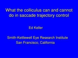 What the colliculus can and cannot do in saccade trajectory control
