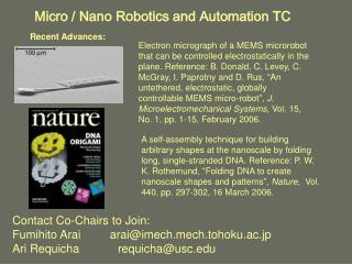 Micro / Nano Robotics and Automation TC