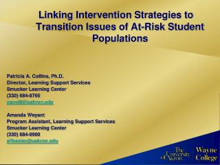 Linking Intervention Strategies to Transition Issues of At-Risk Student Populations
