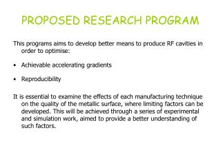 PROPOSED RESEARCH PROGRAM