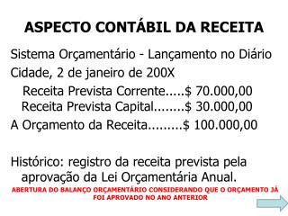 ASPECTO CONTÁBIL DA RECEITA