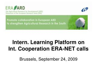 Intern. Learning Platform on  Int. Cooperation ERA-NET calls