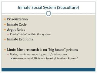 Inmate Social System (Subculture)