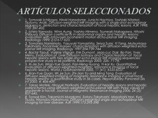 ARTÍCULOS SELECCIONADOS