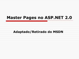 Master Pages no ASP.NET 2.0