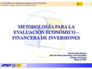 METODOLOGÍA PARA LA EVALUACIÓN ECONÓMICO – FINANCERA DE INVERSIONES