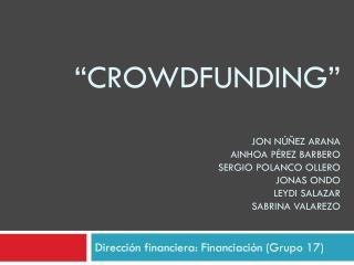 Dirección financiera: Financiación (Grupo 17)