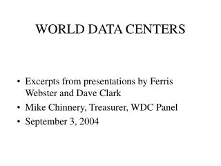 WORLD DATA CENTERS
