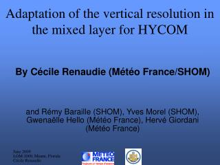 Adaptation of the vertical resolution in the mixed layer for HYCOM