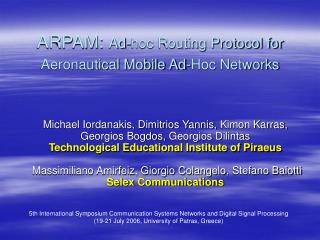 ARPAM:  Ad-hoc Routing Protocol for Aeronautical Mobile Ad-Hoc Networks
