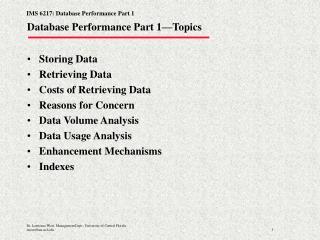 Database Performance Part 1�Topics