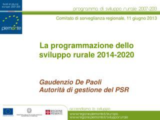 La programmazione dello sviluppo rurale 2014-2020
