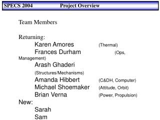SPECS 2004 		      Project Overview