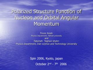 Polarized Structure Function of Nucleon and Orbital Angular Momentum