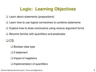 Logic:  Learning Objectives