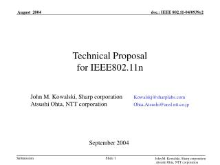 Technical Proposal  for IEEE802.11n