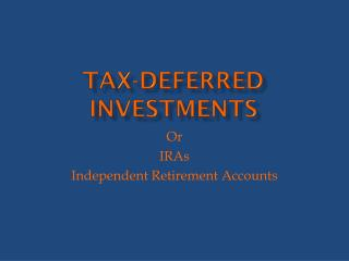 Tax-Deferred Investments