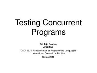 Testing Concurrent Programs