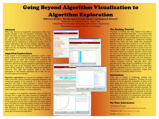 Going Beyond Algorithm Visualization to Algorithm Exploration