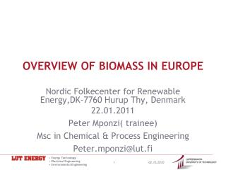 OVERVIEW OF BIOMASS IN EUROPE