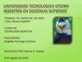 Universidad Tecnológica OTEIMA maestría en docencia superior