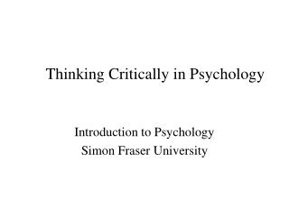 Thinking Critically in Psychology