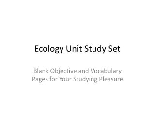 Ecology Unit Study Set
