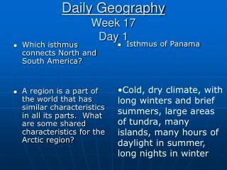 Daily Geography Week 17 Day 1