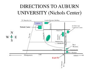 DIRECTIONS TO AUBURN UNIVERSITY (Nichols Center )