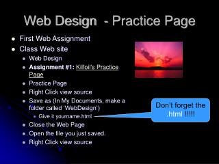 Web Design  - Practice Page