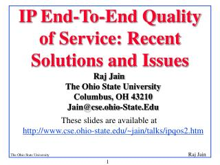 IP End-To-End Quality of Service: Recent Solutions and Issues