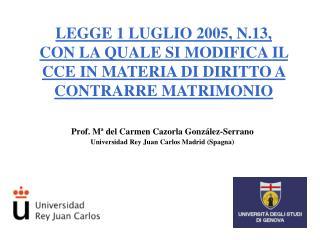 Prof. M  del Carmen Cazorla Gonz lez-Serrano Universidad Rey Juan Carlos Madrid Spagna