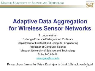 Adaptive Data Aggregation  for Wireless Sensor Networks