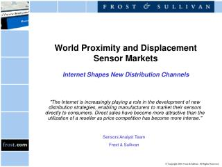 World Proximity and Displacement Sensor Markets Internet Shapes New Distribution Channels