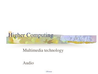 Higher Computing