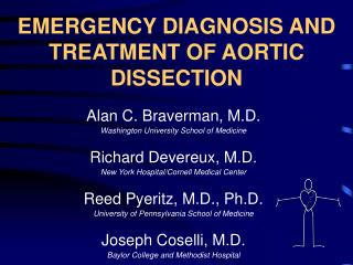 EMERGENCY DIAGNOSIS AND TREATMENT OF AORTIC DISSECTION