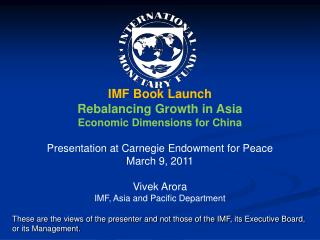 IMF Book Launch Rebalancing Growth in Asia Economic Dimensions for China