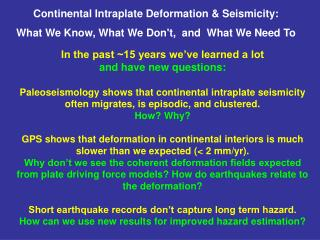 Continental Intraplate Deformation & Seismicity: