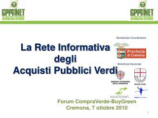 Forum CompraVerde-BuyGreen Cremona, 7 ottobre 2010