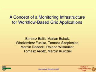 A Concept of a Monitoring Infrastructure for Workflow-Based Grid Applications