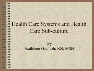 Health Care Systems and Health Care Sub-culture