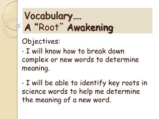 "Vocabulary….  A  "" Root ""  Awakening"