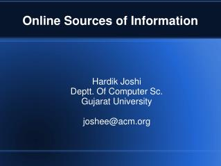 Online Sources of Information