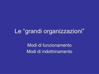 """Le """"grandi organizzazioni"""""""