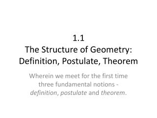 1.1 The Structure of Geometry: Definition, Postulate , Theorem