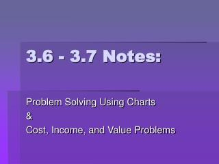 3.6 - 3.7 Notes: